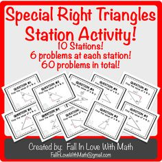 Special Right Triangles Station Activity! from Fall In Love with Math! on TeachersNotebook.com (29 pages)
