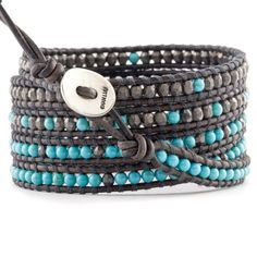 Chan Luu - Turquoise Mix Wrap Bracelet on Natural Grey Leather, $240.00 (http://www.chanluu.com/mens-wrap-bracelets/turquoise-mix-wrap-bracelet-on-natural-grey-leather/)