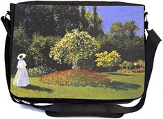 Rikki Knight Claude Monet Art Jeanne Marguerite Lecadre int eh Garden - SuperStrong Messenger Bag - School Bag - with padded pockets for Laptops & Tablets up to 14.5
