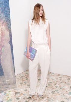 Calico Parka Cleveland Top, Calico Parka Cicely Trouser, Silver Hologram Betty Clutch, Silver Hologram Nathalie Wedges Spring 2013 Look 25