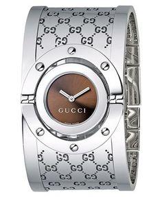 c327178cf Gucci Watch, Women's Twirl Collection Stainless Steel Bangle Bracelet 23mm  YA112401 Beautiful Watches, Elegant