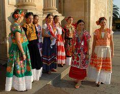 Custom dresses representing the 7 regions of Oaxaca, Mexico. Just beautiful.