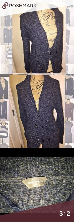 Denver Hayes cardigan sweater Deep v neck cardigan. Navy & charcoal marbled material. Double button front. Rectangle shaped buttons denver hayes Sweaters