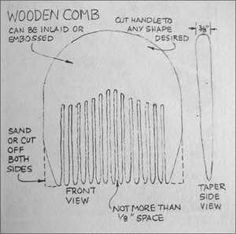 From GENE LOGSDON Excerpt from Practical Skills 1985 My son has been making wooden combs in his workshop. They are strikingly beautiful, and they do comb hair. They also make excellent letter or no… Diy Wooden Projects, Wood Shop Projects, Wooden Crafts, Wooden Diy, Woodworking And Blacksmithing, Wood Comb, Dremel Carving, Wooden Pattern, Wood Carving Patterns