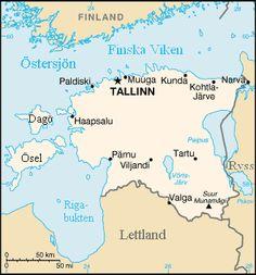 Karta över Estland. ◆Estland – Wikipedia http://sv.wikipedia.org/wiki/Estland #Estonia
