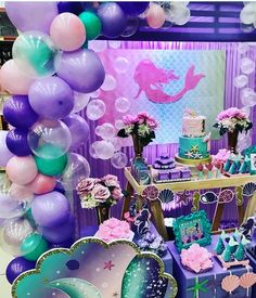 18 Ideas for party girl themes little mermaids Mermaid Theme Birthday, Little Mermaid Birthday, Little Mermaid Parties, Girl Birthday, Mermaid Themed Party, Birthday Party Decorations, Birthday Parties, Birthday Ideas, Mermaid Balloons