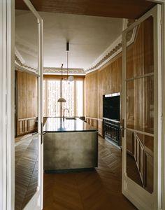 Inside a Superchic Parisian Aerie Designed by Isabelle Stanislas | Architectural Digest Kitchen Interior, Interior And Exterior, Kitchen Design, Interior Design, Wrought Iron Handrail, Parisian Decor, Concrete Kitchen, Ceiling Installation, Memphis Design