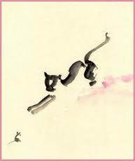 Cat and Mouse: Sumi-E Watercolor Photo: Tao Art. Japanese Painting, Chinese Painting, Chinese Art, Japanese Art, Chinese Brush, Watercolor Cat, Watercolor Animals, Muse Kunst, Asian Cat