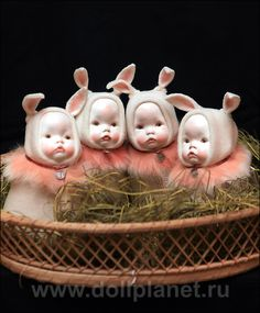 """""""Bunny Baby Presents"""" by Svetlana Dubodel. These sweet souvenir dolls have porcelain heads"""