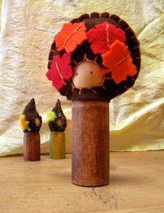Autumn Waldorf Peg Doll Gnome, Maple Tree