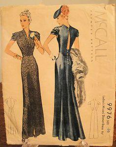 Vintage 1930s McCall Misses Elegant Dinner Dress in Factory Folds | eBay