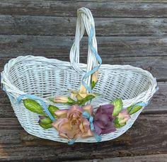 Vintage Basket Shabby White Basket White by GenesisVintageShop