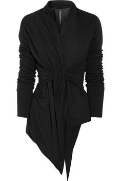 Rick Owens Lilies jacket: black jersey, draped collar, long sleeves, open front, ties at sides, fully lined. 30% rayon, 30% nylon, 20% wool, 20% angora; lining: 100% rayon. Hand wash.