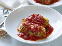 Stuffed Cabbage recipe from Ina Garten via Food Network - good but a bit sweet. Try tinkering with the recipe. Also, make half the filling or twice as many cabbage leaves. Food Network Recipes, Cooking Recipes, Whole30 Recipes, Veal Recipes, Sauerkraut Recipes, Hamburger Recipes, Lamb Recipes, Yummy Recipes, My Burger
