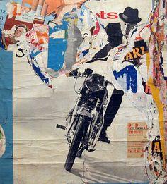 Jacques Villeglé, La Moto — Avenue Ledru-Rollin, 17 July 1965, décollage mounted on canvas