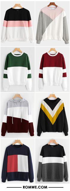 color block sweatshirts 2017 - romwe.com