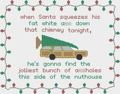 Christmas Vacation quote cross stitch chart - Instant PDF download - Clark Griswold - Jolliest bunch of *ssholes