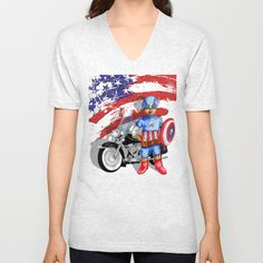 funny cute Big Eye Boy with superhero gear Unisex Vneck tshirt #Clothing #Tshirt #ShortSleeved #Geekery #Tshirt #tee #geek #cute #etsy #redbubble #captainamerica #bigeye #boy #motorcycle #superhero