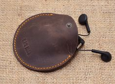 Headphone leather case /Mini Pouch Bag / Earbuds pouch / Leather coin purse / P12-33 +Gift Pouch!