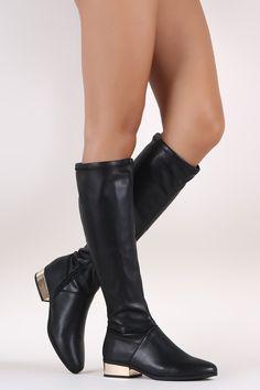 Bamboo Almond Toe Metallic Block Heeled Knee High Boots