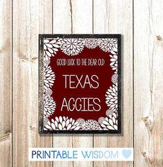 Texas A Print, Printable wall art decor, Aggies decoration, digital typography