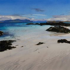 Skye from Arisaig Watercolor Ocean, Watercolor Landscape, Abstract Landscape, Seascape Paintings, Landscape Paintings, Landscapes, Water Art, Painting Studio, North Beach