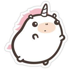 Chubby unicorn sticker by móhu on Redbubble. Unicorn Stickers, Kawaii Stickers, Cool Stickers, Printable Stickers, Planner Stickers, Kawaii Doodles, Cute Kawaii Drawings, Unicorn Drawing, Tumblr Stickers