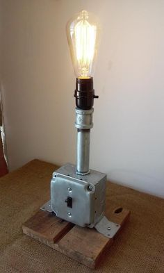 Industrial Rustic Pipe Desk Lamp   Rustic Light by UpcycleMiami, $125.00