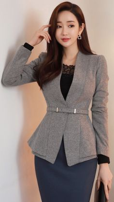 Collarless Belted Peplum Wool Blend Jacket in 2020 Blazer Fashion, Suit Fashion, Work Fashion, Hijab Fashion, Korean Fashion, Fashion Dresses, Fashion 2020, Office Outfits Women Casual, Classy Work Outfits