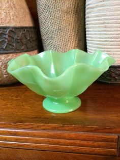 Vintage Wavy Frosty Green Footed Bowl by TahoeTonyas on Etsy