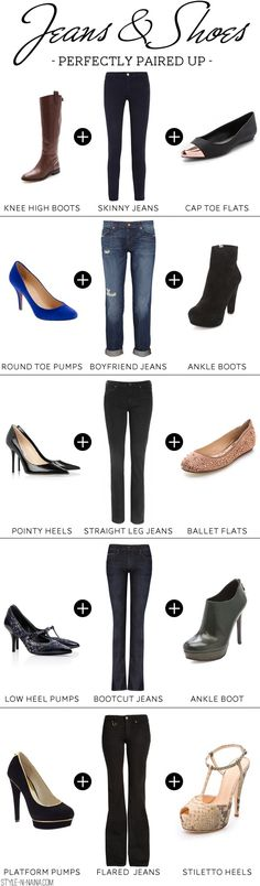Perfect cheat sheet for jeans and shoes parings.