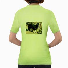 Black+German+Shepherd+Full+Women's+Green+T-Shirt