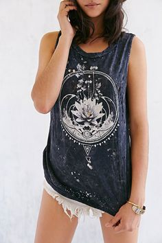 Black Moon Flowers & Moon Tee