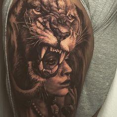 My lion thigh tattoo.