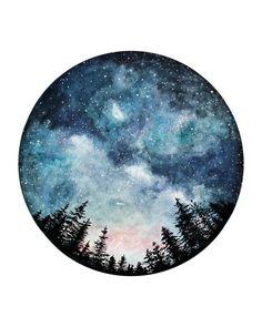 Watercolor Art Print Starry Sky Forest Art Circle Art Home