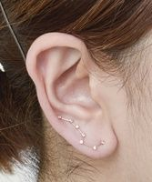 Constellation stud earring, big/little dipper, all one earring connected up ear; gold