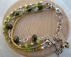 Bracelet partially wire wrapped Czech glass beads, Two Seed Bead Strands and one with both styles in it by ALCustomJewelry, $38.99