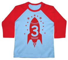 Third Birthday red rocket boys shirt kids toddler Happy 3rd Party American Apparel Raglan 3/4 Sleeve tshirt 2nd, 3rd, 4th, 5th