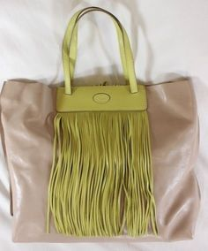 """~~~ FRINGE FANTASY! ~~~ NEW $1295 TOD'S NUDE/LIME """"MEDIA"""" LEATHER TOTE BAG ~~~ #Tods #TotesShoppers"""
