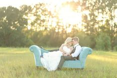 I'm in love with this wedding photo shoot with a gorgeous blue couch!