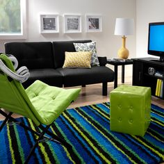 Modern lounge with bright accents.
