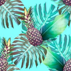 Beautiful seamless floral pattern backgrounds with tropical jungle leaves, pineapples, exotic prints