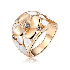 Exquisite Rose Gold-Plated Champagne & Zircon Flower Ring