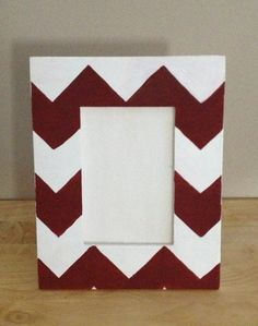Chevron painted picture frame,grey and wood or grey and pale yellow for my bathroom.