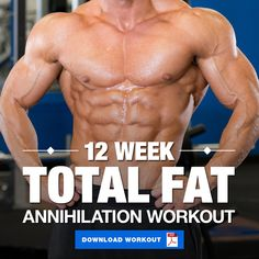 Annihilate any unwanted fat with this total fat loss workout routine. This 4 day… Annihilate any unwanted fat with this total fat loss workout routine. This 4 day a week workout will maximize your fat loss efforts via advanced techniques. Shred Workout, 12 Week Workout, Workout Plan For Men, Workout Routine For Men, Weekly Workout Plans, Gym Workout Tips, Workout Challenge, Workout Programs For Men, Weekly Workout Routines
