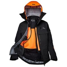 Helly Hansen Mens Elevation Shell Ski Jacket Black M Windbreaker Jacket Mens, Black Windbreaker, Bomber Jacket, Rain Jacket, Black Ski Jacket, Mens Skis, Helly Hansen, High Collar, Jacket Style