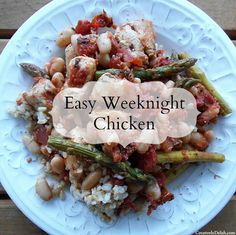 Chicken sauteed with tomatoes, asparagus and white beans over brown rice and grated parmesan cheese...easy and delcious!