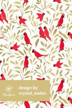Cardinals design by crystal_walen - Beautiful bright red cardinals with gold leaves on a white background on fabric, wallpaper, and gift wrap. Bold red birds with whimsical golden leaves in a painterly style #paint #design #cardinal #birds #gold #fabric #wallpaper