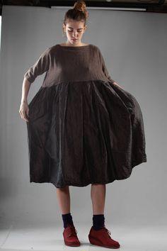 DANIELA GREGIS - Calf-Length Dress With Knitted Cashmere Bodice And Silk Taffeta Skirt :: Ivo Milan
