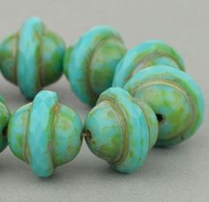 Saturn Beads - Saucer Beads - Czech Glass Beads - Turquoise Opaque with Picasso - 10x12mm #SolanaKaiBeads #CzechGlassBeads @SolanaKaiBeads